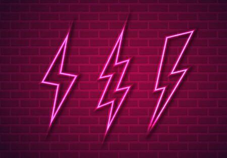 Vector Illustration of Pink Neon Thunderbolts on Brick Wall
