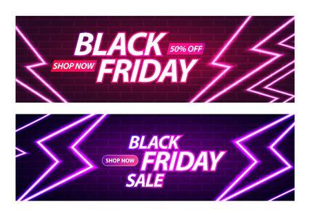 Black Friday Sale Banner. Glowing Neon Thunderbolts on Brick Wall Background. Vector Advertising Illustration Ilustração