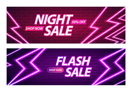 Flash and Night Sale Banner Design. Glowing Neon Thunderbolts on Brick Wall Background. Vector Advertising Illustration Illusztráció
