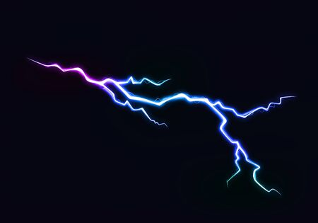 Vector Illustration of Abstract Colorful Lightning Discharge on Black Background. Power Energy Charge Thunder Shock Çizim