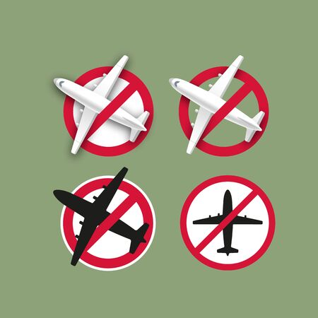 Forbidden Sign - Planes Dont Fly. Vector Symbol of Flight Cancellation. Illustration of Departure Ban