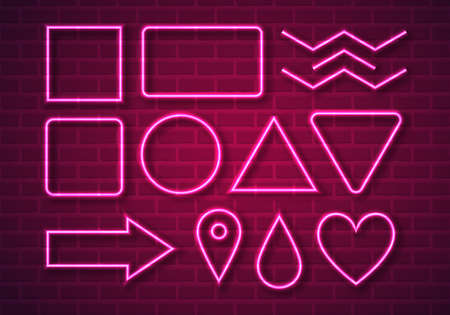 Vector Illustration of Pink Neon Shapes on Brick Wall. Electronic Neon Glowing Frames for Your Text