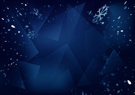 Vector Frosted Glass Blue Background with White Blizzard. Frozen Window Illustration with Snowflakes.