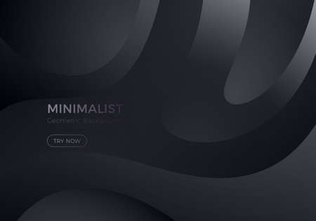 Abstract Black Background with Wavy Geometric Shapes. Vector Minimal Banner