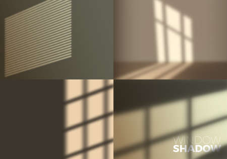 Set of Vector Transparent Realistic Shadow of Window. Decorative Design Element for Collages.