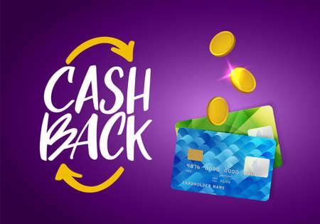 Cash Back Service Template Banner. Credit Card and Money Vector Design. Cashback Concept. Money Refund Vector Illustration