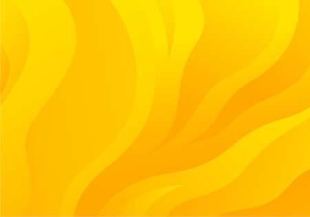 Yellow Wavy Flow Background. Vector Dynamic Bg with Orange Gradient