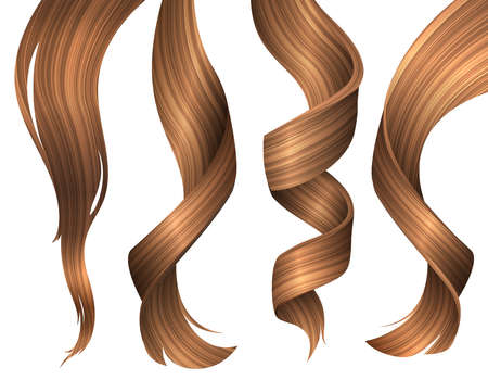 Set of Wavy Strands of Blonde Hair. Vector Realistic 3d Illustration. Design Element for Hairdressers, Beauty Salons, Hair Care Cosmetics, Shampoo or Conditioner Packaging
