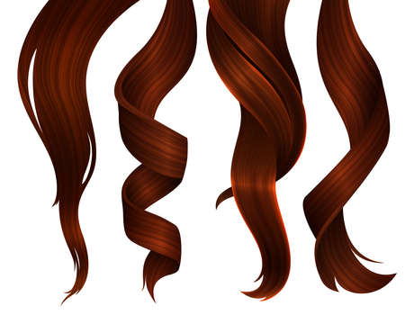 Set of Wavy Strands of Ginger Hair. Vector Realistic 3d Illustration. Design Element for Hairdressers, Beauty Salons, Hair Care Cosmetics, Shampoo or Conditioner Packaging