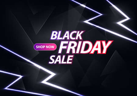 Black Friday Sale Banner Design. Thunderbolts and Text on Dark Background. Vector Advertising Illustration