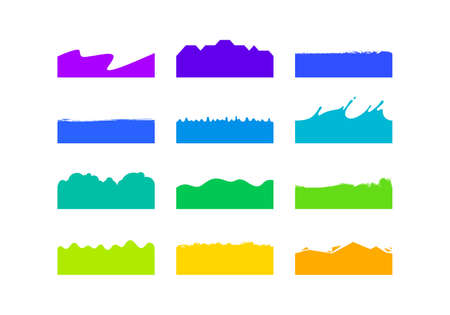 Vector Set of Template Dividers Shapes. Abstract Design Elements for Top and Bottom on Website, App, Banners or Posters.