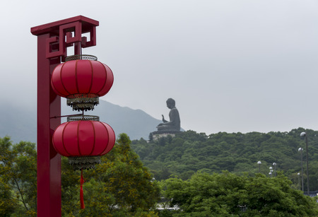 lantau: Tian Tan Buddha - The worldss tallest bronze Buddha in Lantau Island, Hong Kong, with a Chinese lantern in the foreground