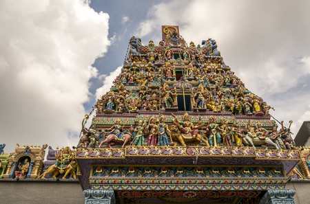 god's cow: Details of the decorations on the roof of the Sri Mariamman Hindu temple, Singapore Stock Photo