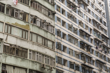 run down: Detail of old, run down apartment block in Hong Kong Stock Photo