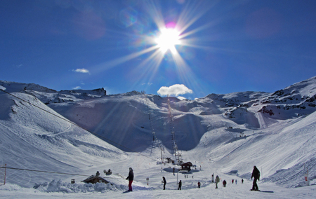 ski slopes: Ski Slopes in the Sun Stock Photo