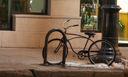 inanimate: Bicycle Thethered Downtown
