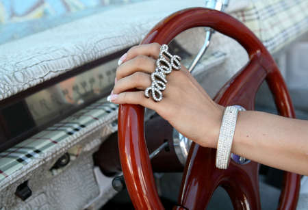 Steering With A Love Ring Stock Photo