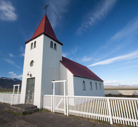 Staoastaour Icelandic Church With Whispy Clouds