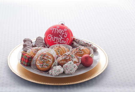Merry Christmas Ornament With Plate of Christmas Goodies