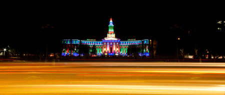 Government Building Lit For Christmas With Light Trails Stock Photo - 16864219