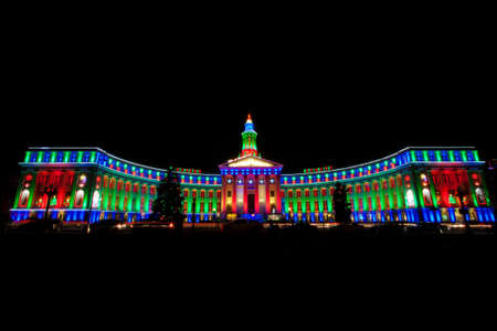 christmas in denver: Denver City and County Building Illuminated For Christmas