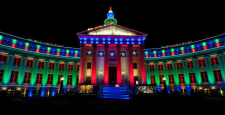 christmas in denver: Christmas Lights on City and County Building Denver