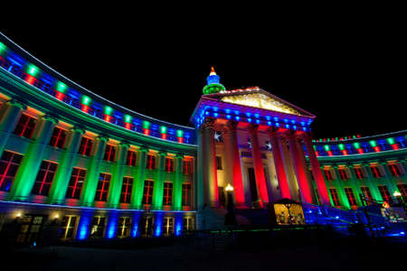 denver at christmas: Government Building With Christmas Lights