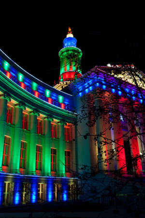 Christmas Lights at the Government Building City and County of Denver Stock Photo - 16864226