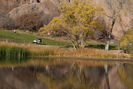 Golf Cart Reflection on a Golf Course