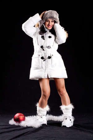 Latina Snow Bunny in White Puffy Coat and Boots