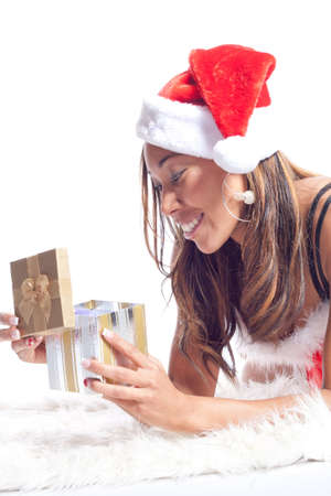 american sexy: African American Woman in Sexy Santa Lingerie Opening Present