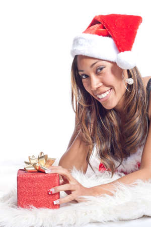 African American Woman in Sexy Santa Lingerie Stock Photo