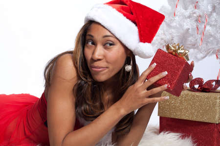 santa lingerie: African American Woman in Sexy Santa Lingerie Stock Photo