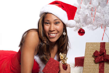 sexy santa: African American Woman in Sexy Santa Lingerie Stock Photo