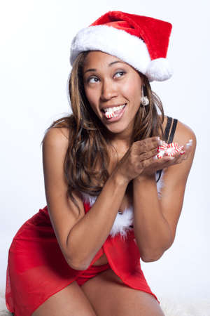 African American Woman in Sexy Santa Lingerie photo