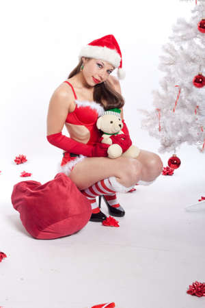 Caucasian Woman in Sexy Red Santa Lingerie photo