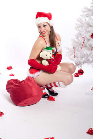 bridget calip: Caucasian Woman in Sexy Red Santa Lingerie Stock Photo