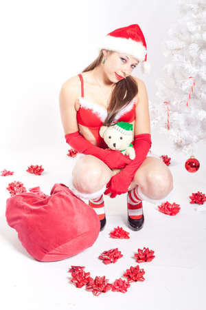 santa lingerie: Caucasian Woman in Sexy Red Santa Lingerie Stock Photo