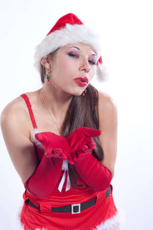 Caucasian Woman in Sexy Red Santa Lingerie Stock Photo