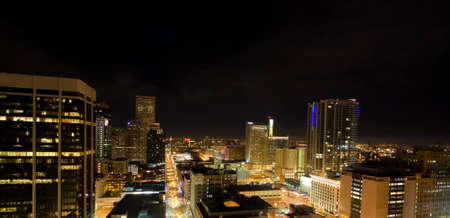Illuminated Downtown Denver Skyline From High Above Clock Tower