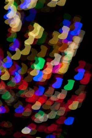 chatfield: Red, White, Blue, Green, Pink, Yellow Christmas Stocking Lights Bokeh Stock Photo