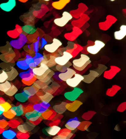 Red, White, Blue, Green, Pink, Yellow Christmas Stocking Lights Bokeh Stock Photo - 17169486