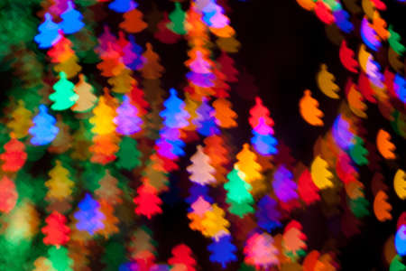 Red, White, Blue, Green, Pink, Yellow Christmas Tree Lights Bokeh