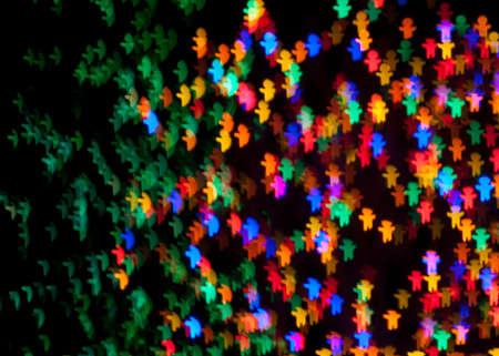 chatfield: Red, Blue, Green, Pink, Purple, Yellow, Gingerbread Man Christmas Lights Bokeh