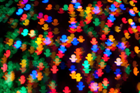 chatfield: Red, Blue, Green, Yellow, Pink, Purple Gingerbread Man Christmas Lights Bokeh