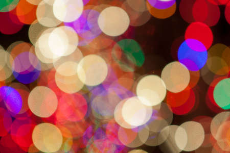 chatfield: White, Blue, Green, Purple and Red Christmas Lights Bokeh Stock Photo