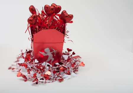 Red Valentines Cupid Box With Red Hearts and Metallic Garden