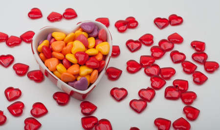 Heart Shaped Ceramic Box Filled With Hard Candy Hearts photo