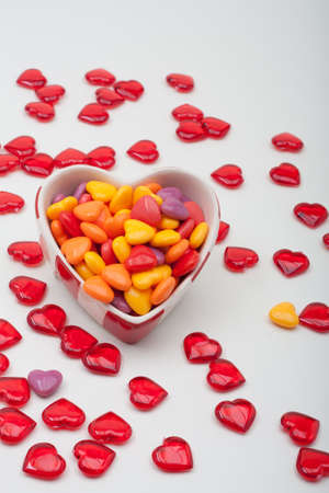 Heart Shaped Ceramic Box Filled With Hard Candy Hearts Stock Photo - 17234140