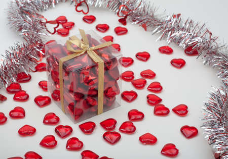 Present Filled With Hearts for Valentines Day